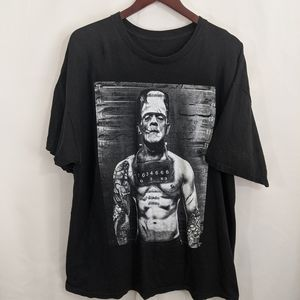 Frankenstein t-shirt black mug shot